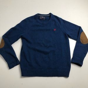 American Eagle Blue Knit Sweater Elbow Patch